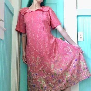 Vintage Pink Floral 1980s Grandma Style Maxi Dress